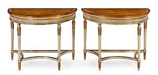 A Pair of George III Style Painted and Parcel Gilt Pier Tables Height 35 x width 45 x depth 23 inches.