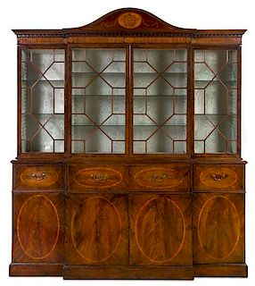 * A George III Inlaid Mahogany Breakfront Bureau Bookcase Height 8 feet 2 inches x width 7 feet 2 1/2 inches x depth 23 inches.