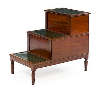 * A Set of English Mahogany Bed Steps Height 25 1/4 inches.
