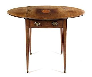 A George III Mahogany Pembroke Table Height 28 1/2 x width 30 x depth 20 inches.