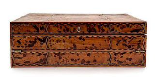 A Tortoise Shell and Parquetry Decorated Writing Slope Height 5 x width 14 3/4 x depth 8 3/4 inches.