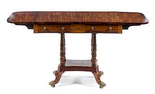 A Regency Rosewood Banded Satinwood Sofa Table Height 29 x width 36 x depth 25 3/4 inches.