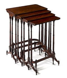 * A Set of Regency Inlaid Mahogany Quartetto Tables Height 28 1/4 x diameter 22 / 13 inches.