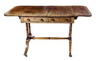 A Regency Mahogany Sofa Table Height 28 1/4 x width 34 x depth 27 inches.