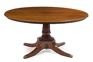A Regency Mahogany Breakfast Table Height 30 x diameter of top 60 1/2 inches.