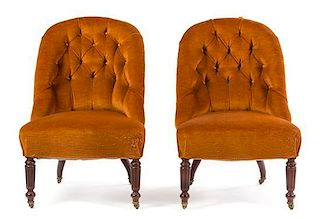 * A Pair of William IV Mahogany Slipper Chairs Height 32 1/2 x width 22 x depth 24 inches.