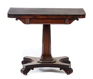 * A William IV Mahogany Game Table Height 29 1/2 x width 36 x depth 17 1/2 inches.