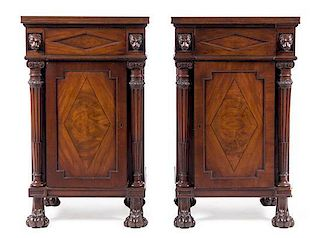 * A Pair of William IV Mahogany Pedestal Cabinets Height 37 x width 22 x depth 18 inches.