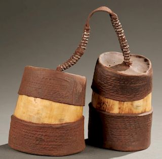 West African ivory & hide containers,early 20th c.