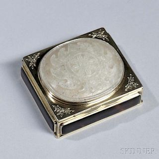 French Silver-gilt and Hardstone Snuff Box