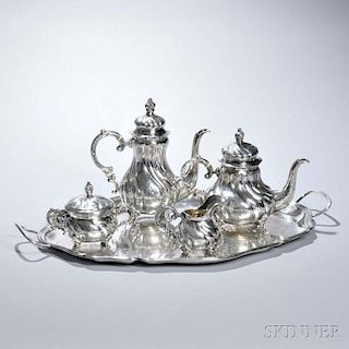 Five-piece German Sterling Silver Tea and Coffee Service,