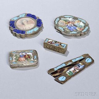 Five Italian .800 Silver and Enamel Toiletry Items