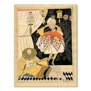 J. Chauvin, Pierrot With A Dancing Woman, Art Deco Pochoir, 1920's