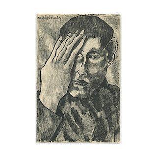 Ivan Larionov, Self-Portrait, Russian Avant-Garde Lithography, A. Kruchenykh, 1912