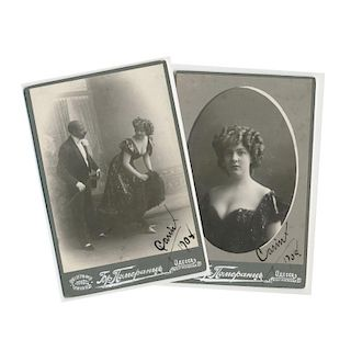 Russian Theatre Cabaret, Set of 2 Photo Autographed by Actress, 1908