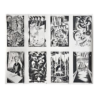 Natalia Goncharova, An Uncut Sheet with 8 Signed Lithographs, c. 1920