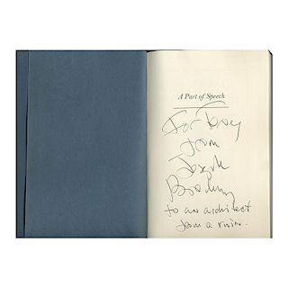 Joseph Brodsky. A part of Speech. 1st American Edition Autographed by the Author, New York, 1980.