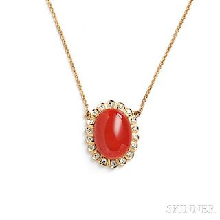 18kt Gold, Coral, and Diamond Pendant
