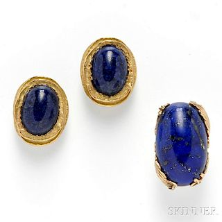 18kt Gold and Sodalite Earclips