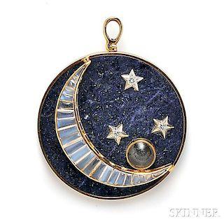 18kt Gold, Lapis, Moonstone, and Diamond Pendant/Brooch