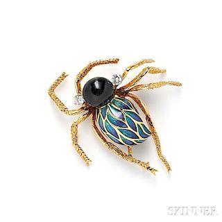 18kt Gold, Enamel, Onyx, and Diamond Spider Brooch