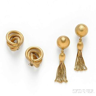 Two Pairs of 18kt Gold Earclips