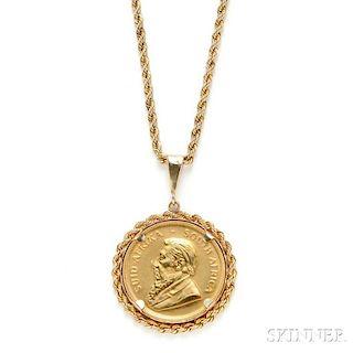 1oz. Gold Krugerrand-mounted Pendant