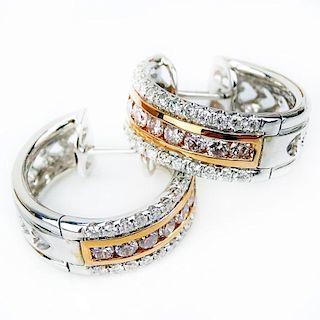 .85 Carat Round Brilliant Cut Natural Pink Diamond, .67 Carat Round  Diamond and 18 Karat Rose and White Gold Earrings