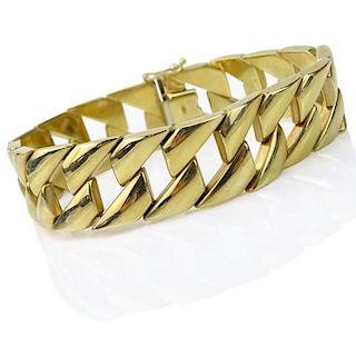Vintage Italian 14 Karat Yellow Gold Wide Link Bracelet