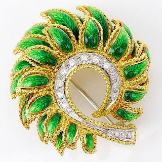 Vintage 18 Karat Yellow Gold Enamel and Round Brilliant Cut Diamond Brooch