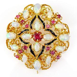 Vintage 18 Karat Yellow Gold, Opal, Ruby and Enamel Pendant/Brooch