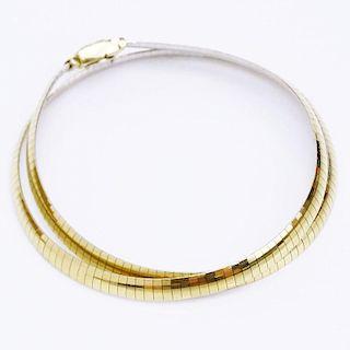 Vintage Italian 14 Karat Yellow and White Gold Reversible Omega Necklace