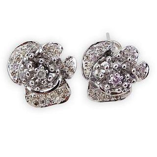 .65 Carat Micro Pave Set Diamond and 18 Karat White Gold Earrings
