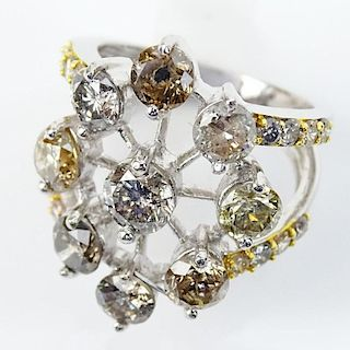 4.92 Carat TW Fancy Natural Multi Color Diamond and 18 Karat White Gold Ring