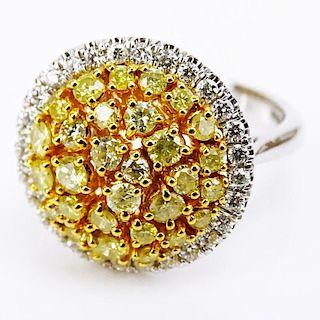 .91 Carat Natural Fancy Yellow Diamond, .35 Carat Round Diamonds and 18 Karat White Gold Dome Ring