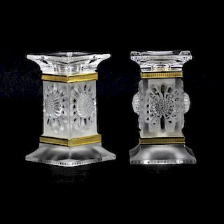 Pair of Lalique Crystal Paquerettes Daisy Candlesticks