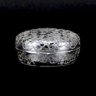 R. Lalique Crystal Le Lys Powder Box