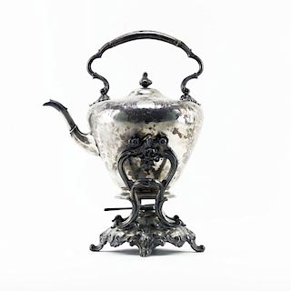 19th Century London England Sterling Silver Hot Water Bottle Kettle on Stand and Burner
