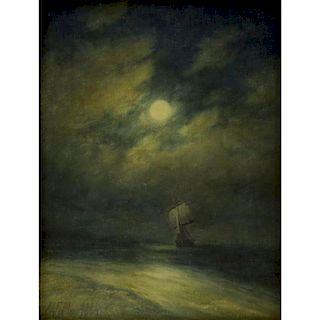 """19th Century Russian Oil on canvas laid on board or on canvas board. """"Ship On Moonlit Sea"""""""