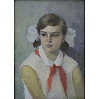 """20th Century Russian Oil on Canvas """"Portrait Of A Girl"""""""