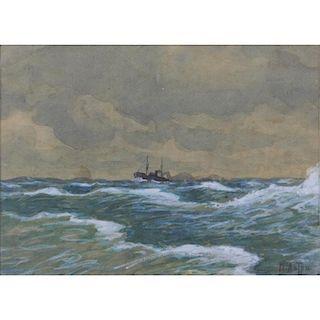 "Early 20th Century Russian-Ukrainian Watercolor and Gouache on Paper ""Ship In Choppy Seas"""