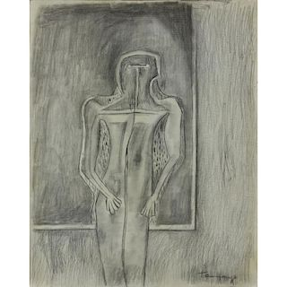 """Attributed to: Rufino Tamayo, Mexican (1899 -1991) Charcoal on paper """"Figure In A Room"""""""