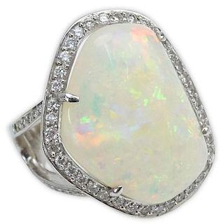 Large White Opal, Round Brilliant Cut Diamond, Blue Diamond and 18 Karat White Gold Ring