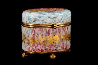 Yellow Spatter Glass Casket Box, Moser (attr) by Ahlers