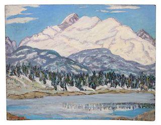 Irene D. Fowler, (American, 1884-1967), Mt. Audubon, Wind Ruffled Lake