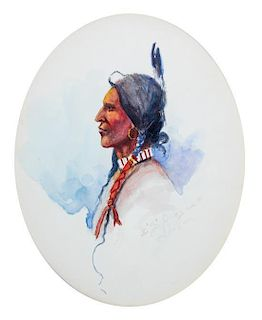 Edgar Samuel Paxson, (American, 1852-1919), Indian Profile