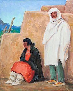 Ila McAfee, (American, 1897-1995), Evening at Taos Pueblo