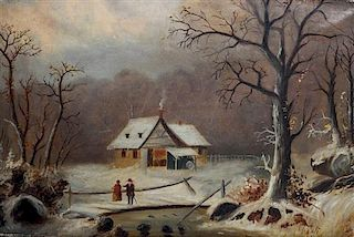 Artist Unknown, (American, Mid-19th Century), Winter Walk