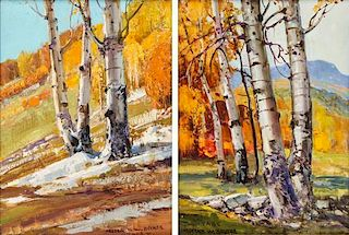 Frederick William Becker, (American, 1888-1974), Aspens in Taos, two works