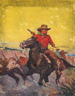 Arthur Roy Mitchell, (American, 1889-1977), Cattle Drive
